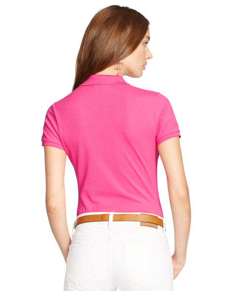 Ralph Lauren Chemises Polo Femmes – Skinny Stretch Polo Shirt – Baja Pink